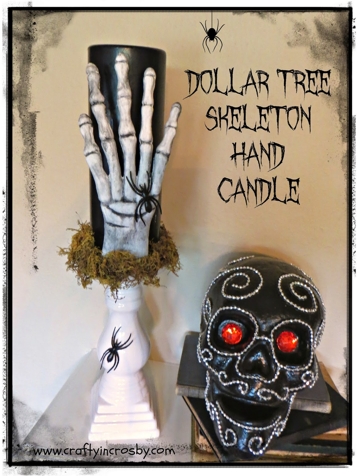 Halloween candle, Halloween DIY, dollar store Halloween, creepy candle
