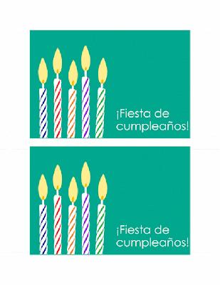 Tarjeta de invitación fiesta de cumpleaños con velas