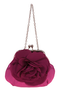 Floral ruffled evening bag with chain