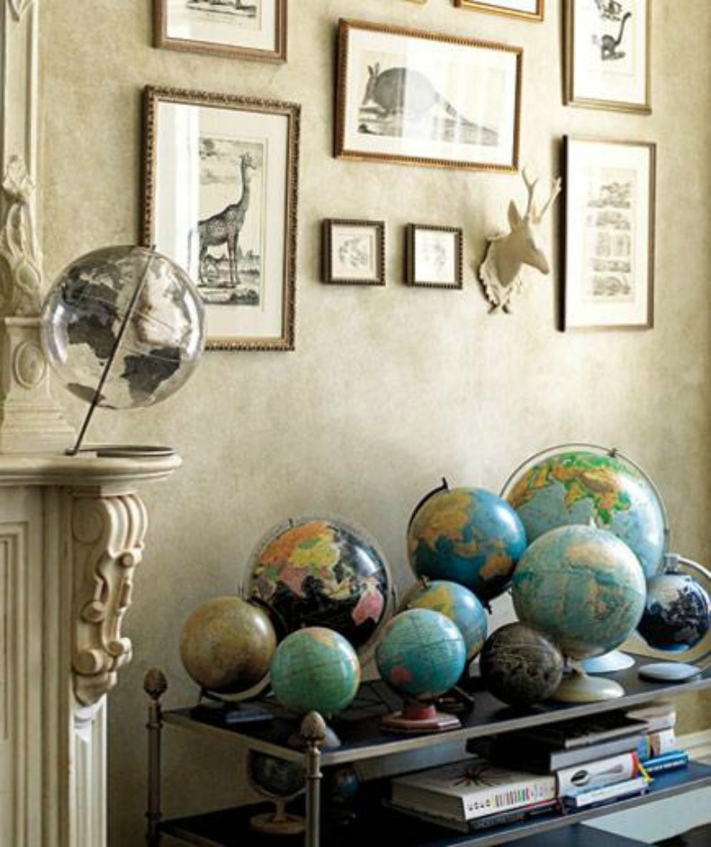 Collection of globes beautifully displayed in a room