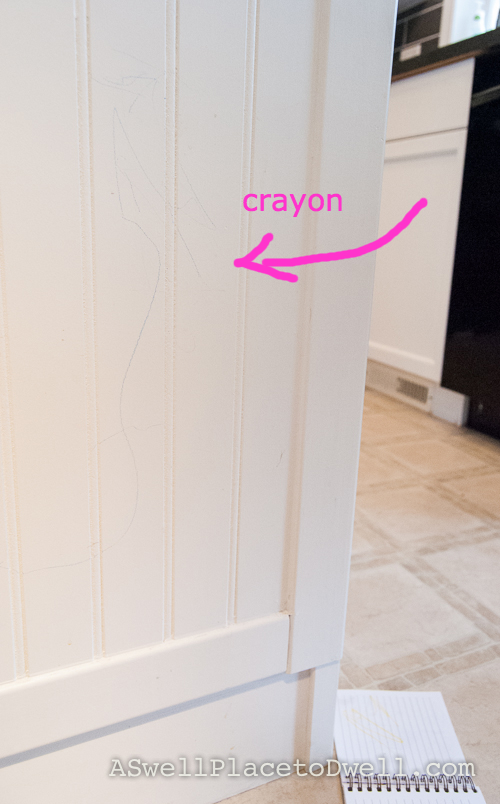 Wiping Crayon off cabinets