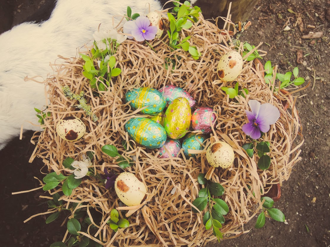 Easy Easter table display - nest of choccy eggs