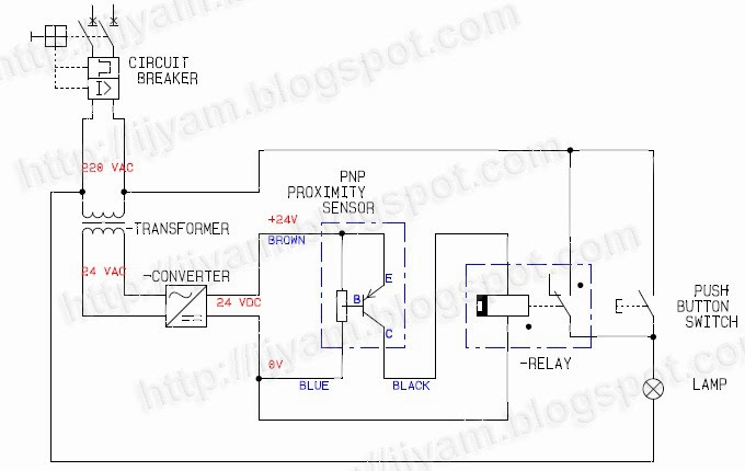wiring connection for a three wire solid state dc proximity sensor without plc technovation