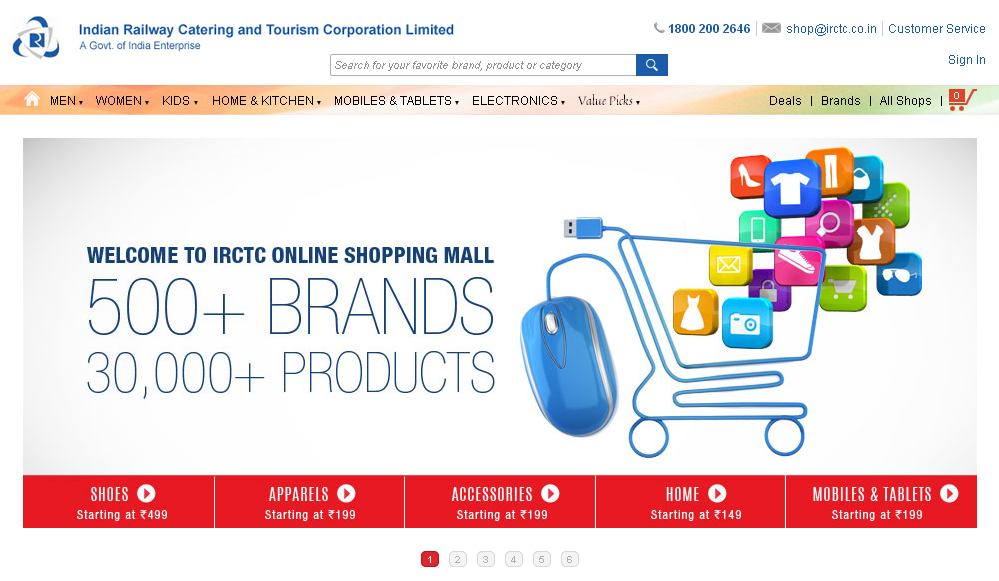 New online shopping portal from irctc for Good sites for online shopping