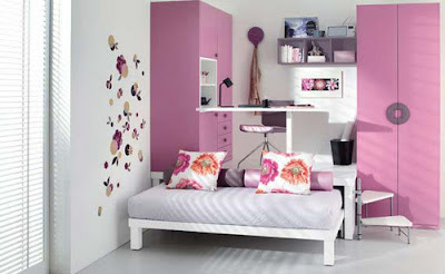 Girls Bedroom Design With Purple and White Colors