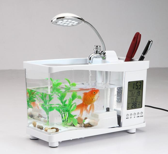 Multifunction electronic portable mini usb desktop fish for Desktop fish tank
