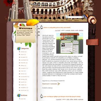 Polycultures Collide in Malaysia Blogger Template. note book style template blogger