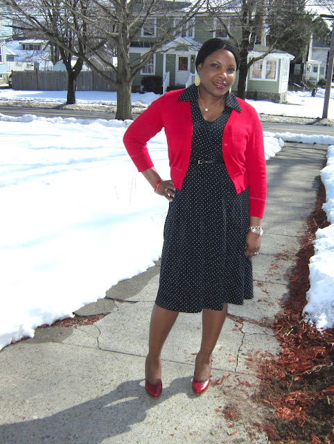 Polka dot dress, target dress, red pumps, Filgree earrings, layered dress, red cardigan