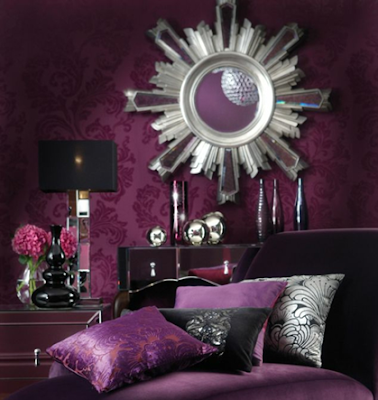 dormitorio púrpura y negro