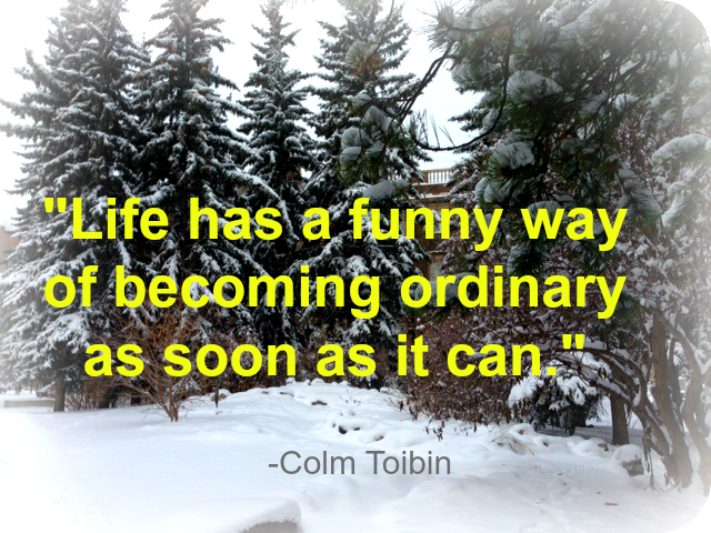 """Life has a funny was of becoming ordinary as soon as it can."" - Colm Toibin"