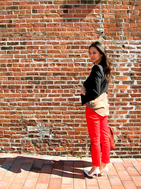 the red trousers, Helmut Lang smoking wool blazer, the red trousers blog