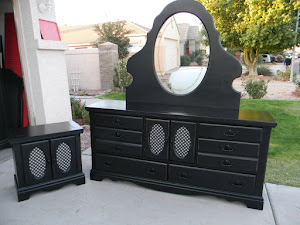 Black Shabby Chic Dresser and Nightstand  *SOLD*