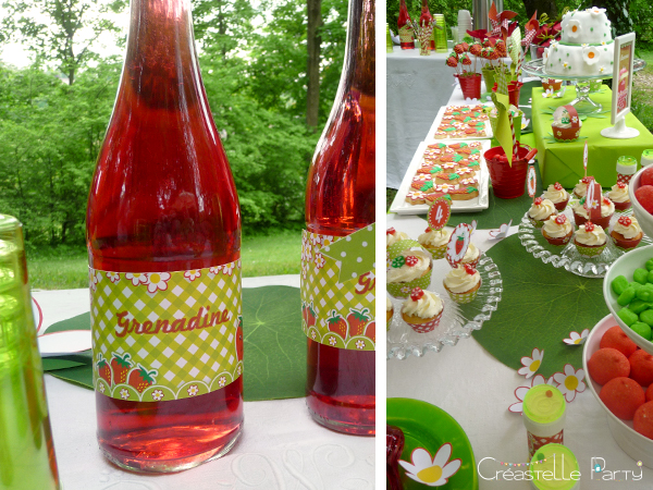 CreastelleParty - Fraise Kawaii - étiquette bouteille / Kawaii Strawberry - bottle label