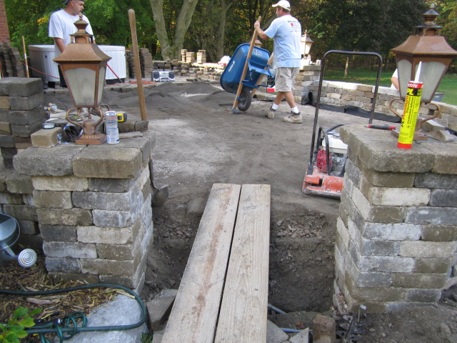 Brick Pavers Elevated Patio With Pillars, Steps, U0026 Sitting Walls  Reconstructed