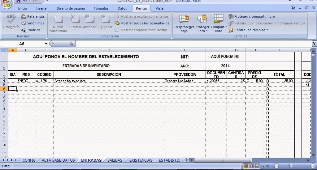 Plantilla en Excel para control de Inventario - Control de Kardex ...