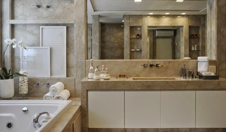 Banheiros claros branco e bege – veja modelos modernos e dicas!  Decor Salt -> Cuba Banheiro Bege