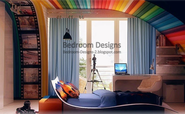 colorful creative bedroom design ideas that use printable fabric as the  main material for decoration Designs