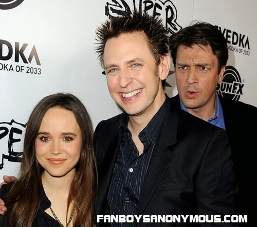 Slither star Nathan Fillion Guardians of the Galaxy director James Gunn and Ellen Page promoting Super