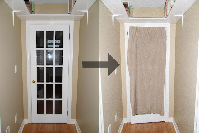 I pinned around for ideas but kept in the back of my mind what Daniel from Manhattan Nest did to his French doors in his old apartment. & Not A House But A Home: Tutorial: DIY French Door Curtain Alternative