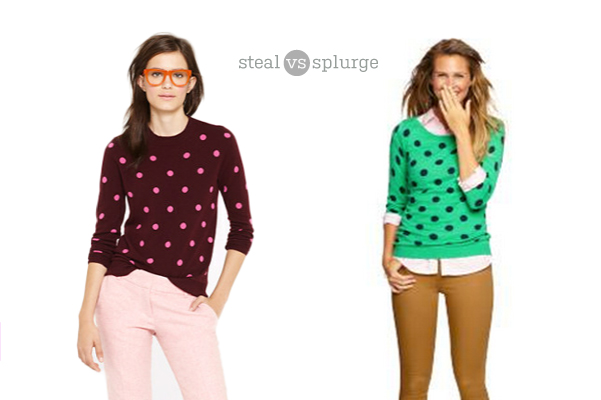 j.crew's polka dot sweater for less