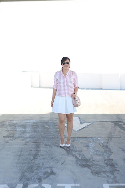 simplyxclassic, gingham, pink gingham top, jcrew, jcrew factory, chloe drew bag, pink and white outfit, gingham outfit, orange county, mommy blogger, fashion blogger, los angeles, style