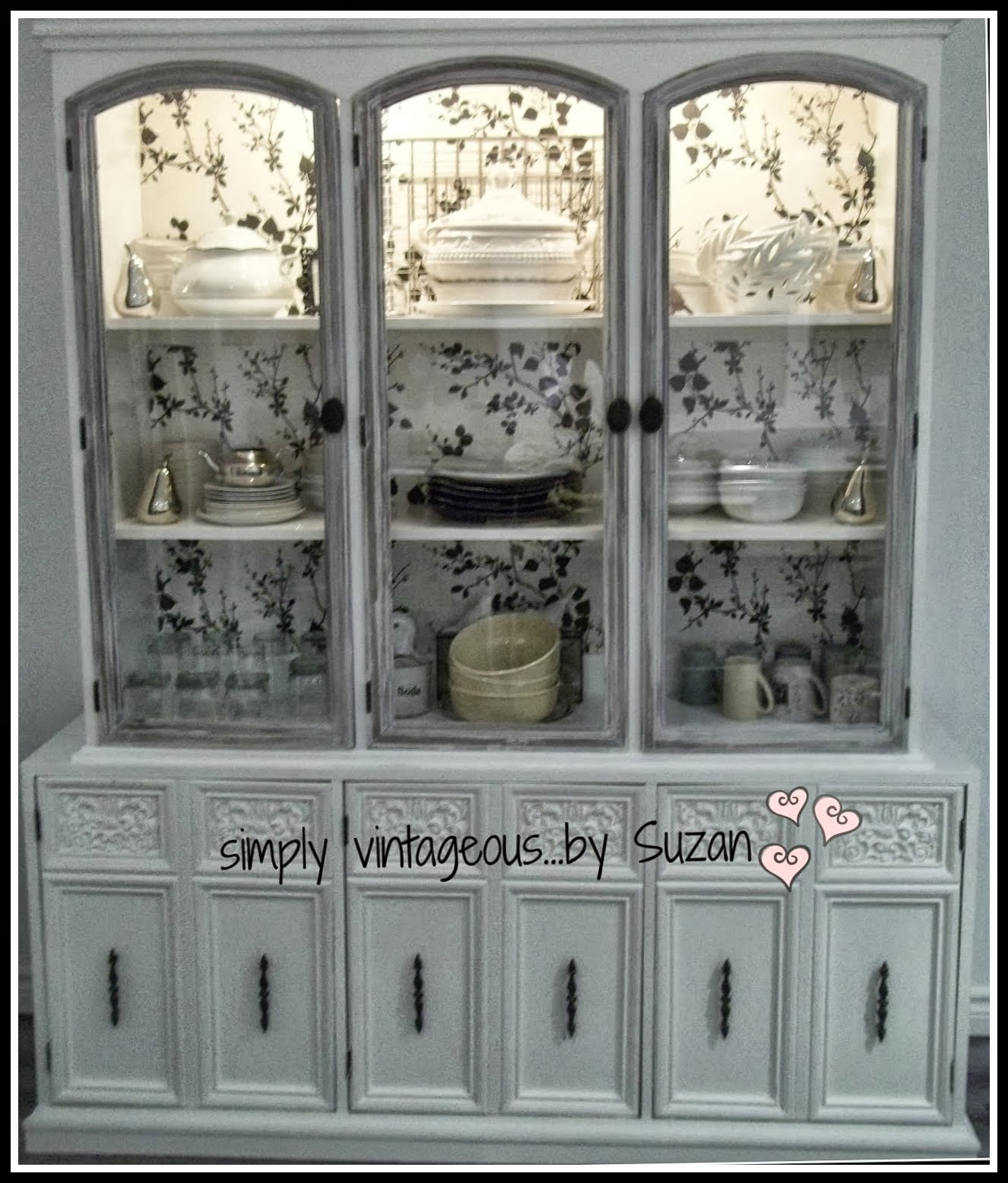 Kitchen Hutch - painted and wallpapered