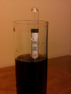 Hydrometer sample after stuck fermentation