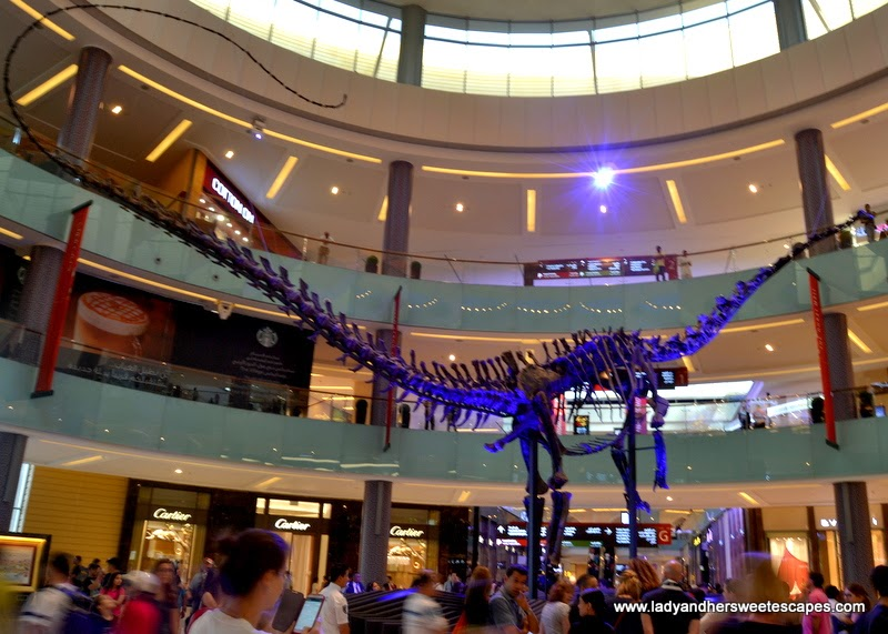 dinosaur skeleton at The Dubai Mall