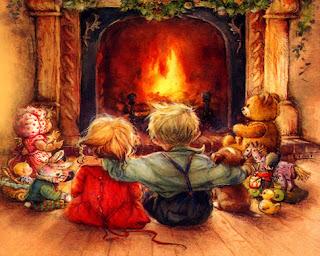 navidad, niños en navidad, chimenea