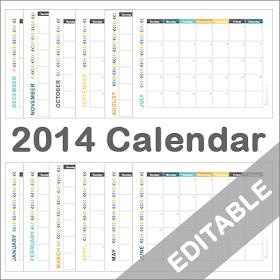 2014 Editable Monthly Calendar Printable