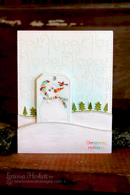 Happy Holidays Snowman card by Larissa Heskett | Simply Seasonal Stamp set by Newton's Nook Designs #newtonsnook