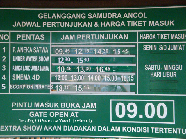 Ancol trip - The Schedule for the Show
