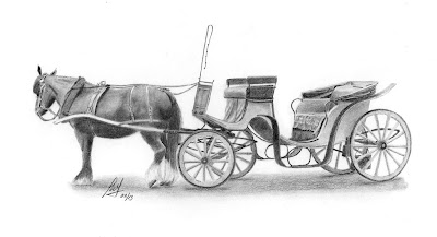 A pencil drawing of a Horse and Carriage in Cockington