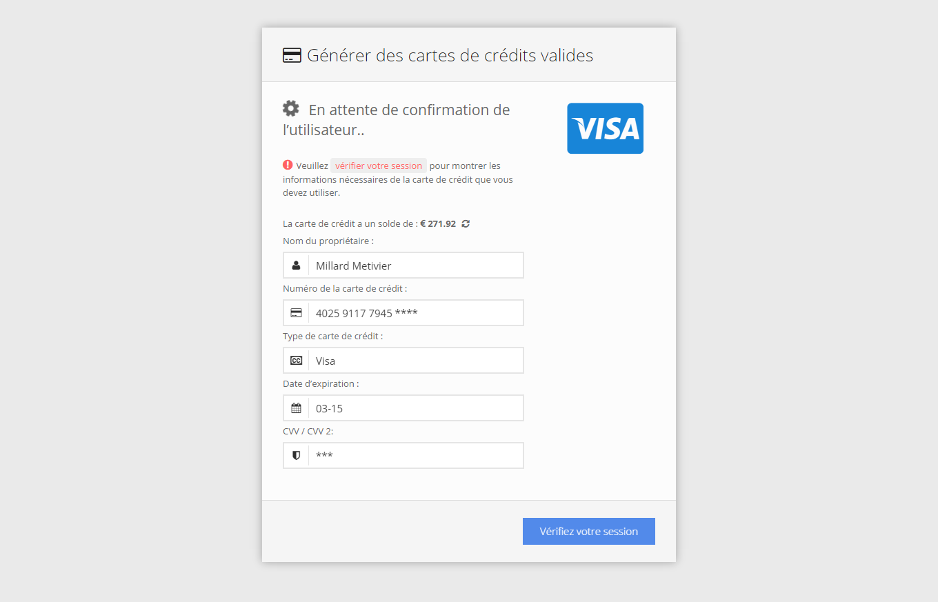 Credit Card Generator Online Script 2015 - French Version