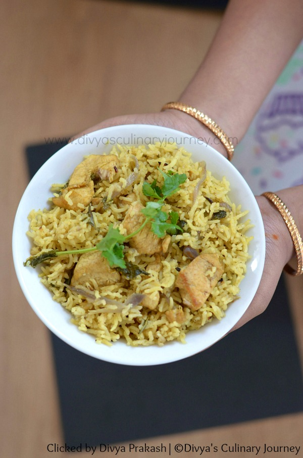 Chicken pulao with coconut milk, chicken pulao in pressure cooker