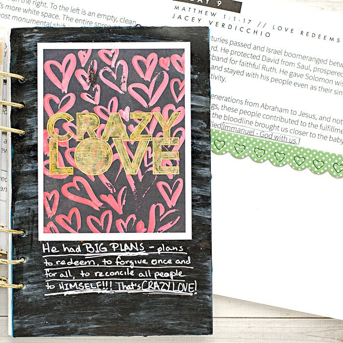 Advent Mixed Media Art Worship Journal | Day 9 using Naptime Diaries Advent Devotional and Calendar cards