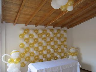 Decoracion primera comunion angeles con globos fiestas - Decoracion fiesta comunion ...