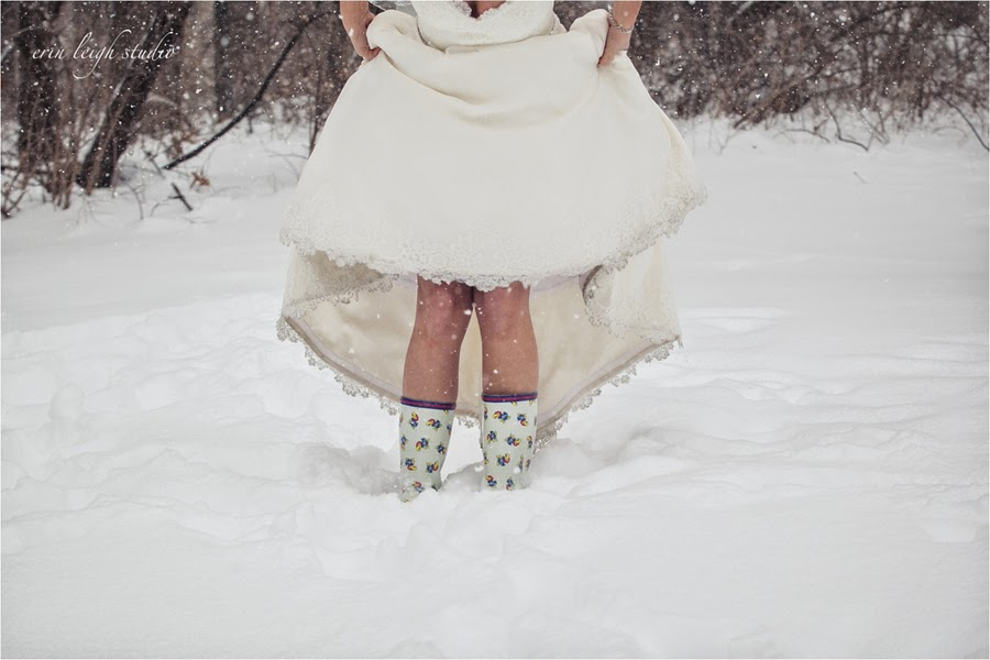 bridal session in the snow wearing ku boots