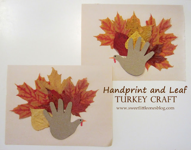 Handprint and Leaf Turkey Craft for Kids - www.sweetlittleonesblog.com