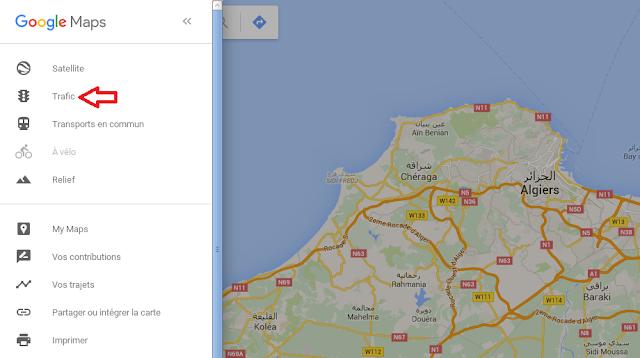 knowledge.traffic.algeria.maps.google أخيرا يمكنك معرفة حركة المرور في الجزائر العاصمة مباشرة في خرائط google