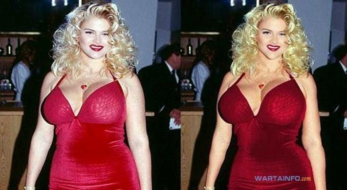Foto Hot Belahan dada Montok Anna Nicole Smith Selebritis dengan Implan Payudara Termahal