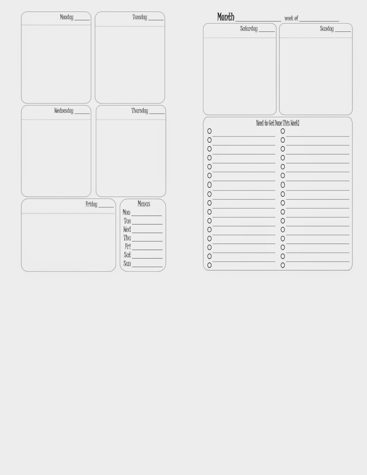 franklin covey planner templates - sparkle frogs free printable week on two pages