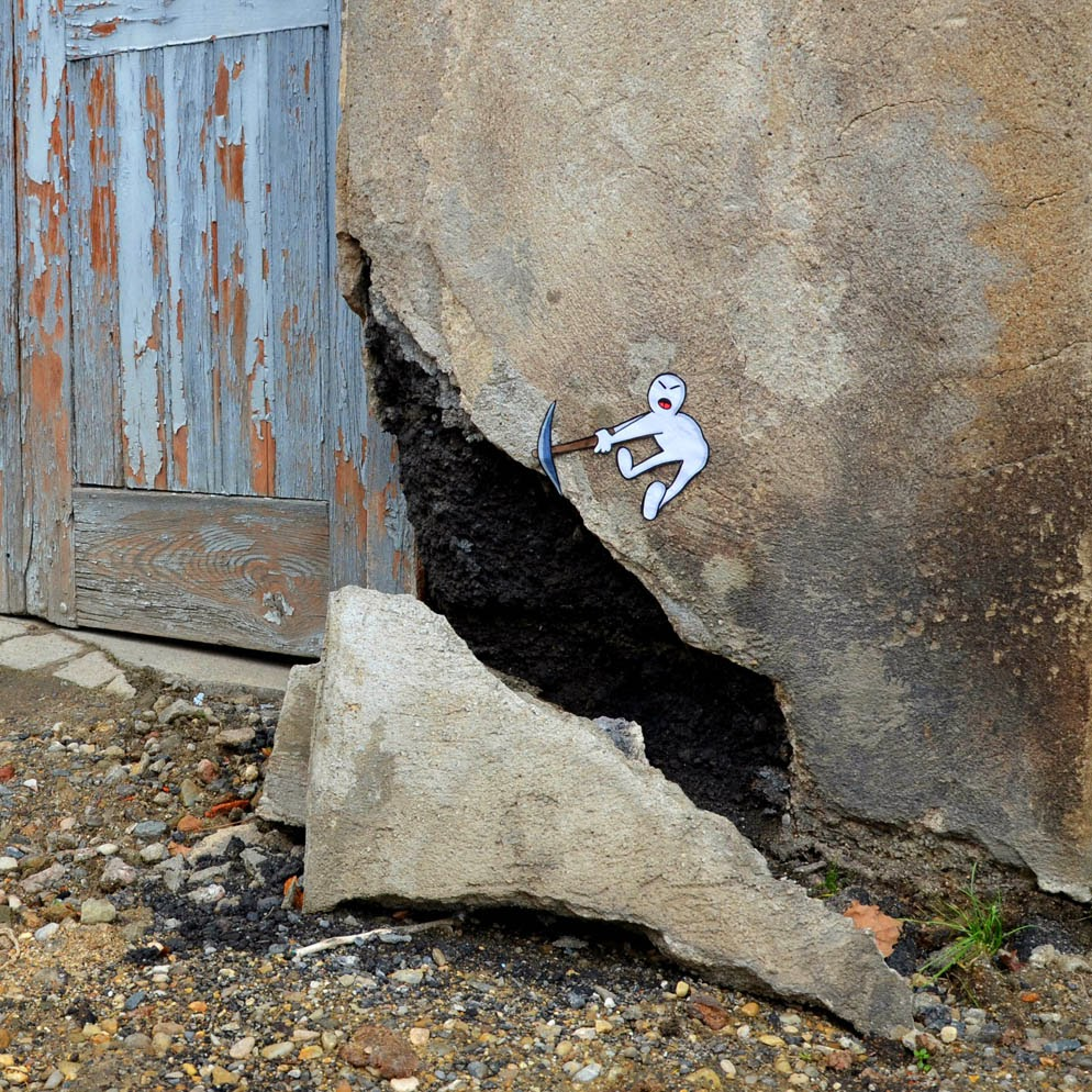 """Pickaxe Head"" New Street Piece by OakOak somewhere in his hometown of Saint Etienne, France. 1"