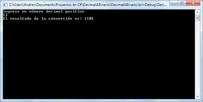 Como Convertir un Numero Decimal a Binario en C#