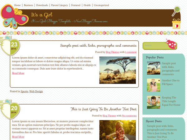 It's a Girl Blogger Template