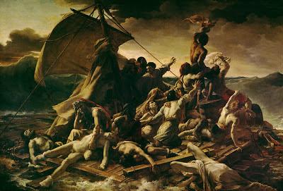 """Cette image reproduit tout simplement le celebre tableau de Theodrore Gericault (1791-1824) intitule """"Le Radeau de la meduse"""", datant de 1818-1819. Le Radeau de La Meduse est une peinture a l'huile sur toile. Le titre initial que Gericault avait donne etait """"Scene d'un naufrage"""" lors de sa premiere presentation. Ce tableau, de tres grande dimension (491 centimetres de hauteur et 716 centimetres  de largeur), represente un episode tragique de l'histoire de la marine française : le naufrage de la fregate Meduse, qui s'est échouée sur un banc de sable au large des cetes de l'actuelle Mauritanie, le 2 juillet 1816. Au moins 147 personnes durent se maintenir e la surface de l'eau sur un radeau de fortune, seuls quinze embarquent le 17 juillet à bord de L'Argus, cinq encore mourront peu après leur arrivee à Saint-Louis du Senégal, apres avoir endure la faim, la deshydratation, la folie et meme le cannibalisme. L'evenement devint un scandale d'ampleur internationale, en partie car un capitaine français servant la monarchie restauree depuis peu a ete juge responsable du desastre, en raison de son incompetence. En choisissant de representer cet episode tragique pour sa premiere œuvre d'importance, Gericault avait conscience que le caractere recent du naufrage susciterait l'interet du public et lui permettrait de lancer sa jeune carriere. Le Marginal Magnifique s'approprie le tableau mondialement connu et tronant au Louvres de Gericault pour illustrer son nouveau poeme qui porte le meme nom que le tableau mais qui est destine a l'eclipser ou du moins a le concurrencer tant il presente de qualités esthetiques. Dans cet immense poeme, Le Marginal Magnifique dresse avec humour un constat du monde dans lequel il vit, un monde qu'il compare au celebre radeau sur lequel se sont retrouves les naufrages de la Meduse. Le rapprochement est justifie par les conditions de vie atroces, la promiscuité et le chaos regnant a bord du frele esquife, mais aussi par le fait qu'il n'y absolument """