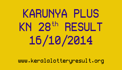 Karunya Plus Lottery KN 28 Lottery Result 16-10-2014