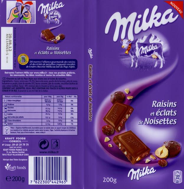 tablette de chocolat lait gourmand milka raisins et eclats de noisettes