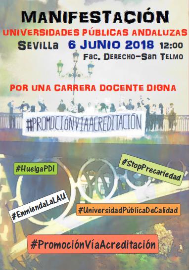 MANIFESTACIÓN  UNIVERSIDADES PÚBLICAS ANDALUZAS. SEVILLA 6 Junio 2018