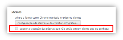 Opções de Tradução do Google Chrome